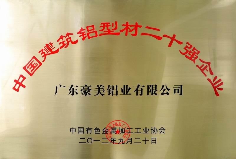中国建筑铝型材20强牌匾