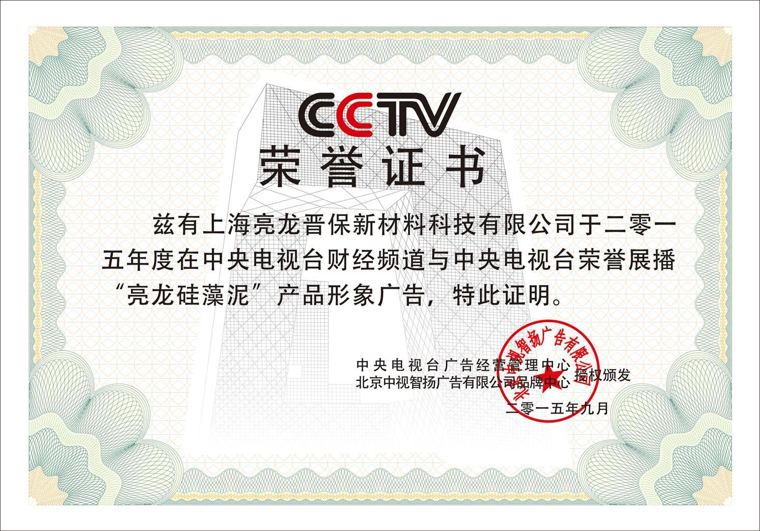 亮龙荣誉证书