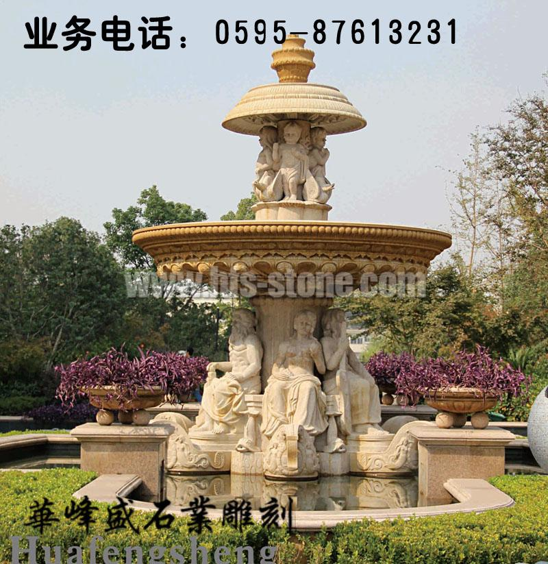 欧式景观人物石雕喷泉,跌水盆石雕,园林小区石雕喷泉流水