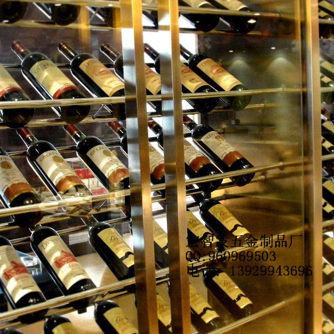 酒店酒业配用不锈钢红酒架 餐厅酒架 效果图 高清图片