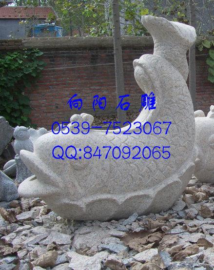 低价出售石雕鱼鲤鱼喷水鱼(黄锈石五莲红)