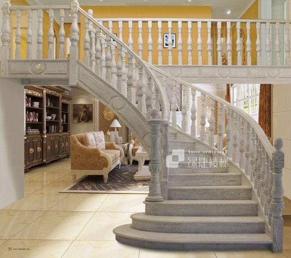 绿捷楼梯欧式豪华实木楼梯罗马假日量身定制图片