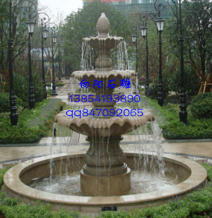 最新石雕喷泉定制报价黄锈石水钵价格