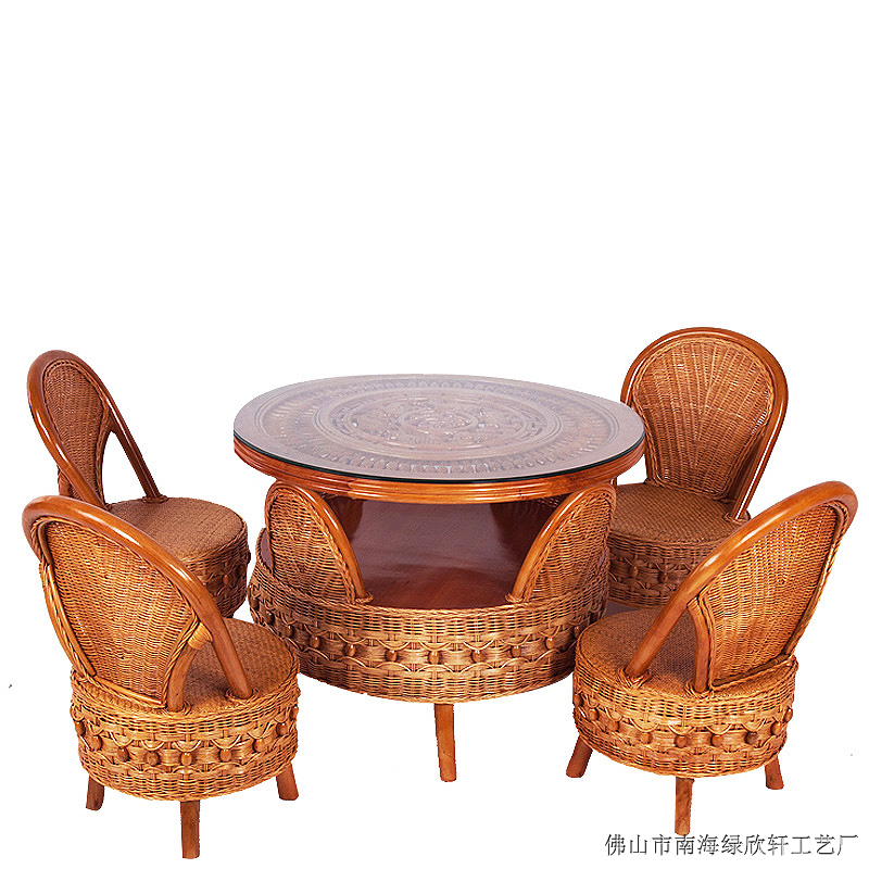 云南藤家具厂价直销中式休闲椅组合9012-【效果图,图图片