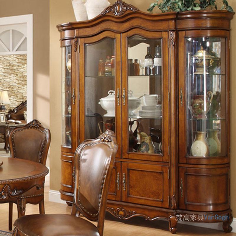 客厅美式四门酒柜 欧式古典实木家具