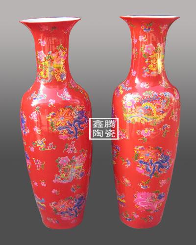供应中国红陶瓷大花瓶,高品质红瓷大花瓶