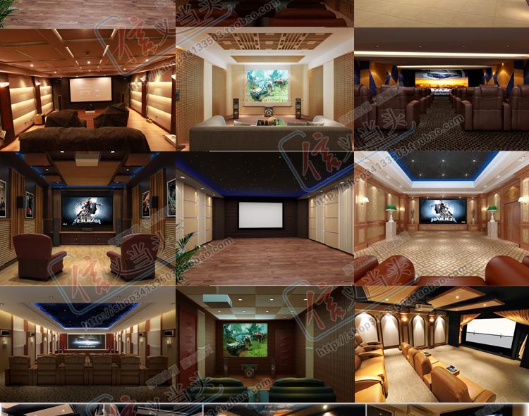 影音室设计 家庭影院装修 别墅影院-【效果图,产品图
