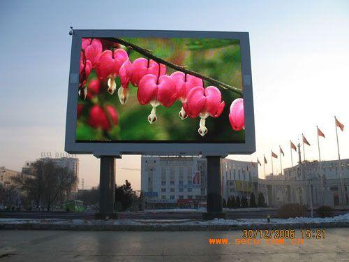 西湖旁户外双立柱全彩LED电子大屏幕厂家-【-led大屏厂家