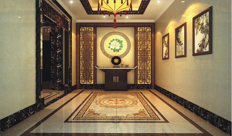 餐厅:牡丹花开,与餐厅墙上的山水画相呼应,一幅自然之景给人舒享的