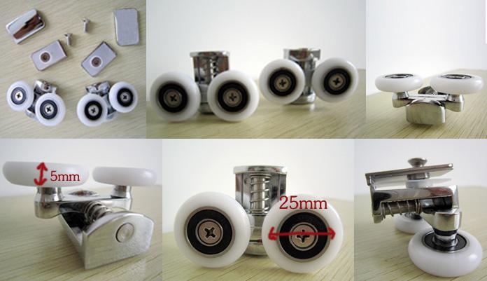 供应淋浴房配件弹簧双滑轮优质铜合金滑轮套