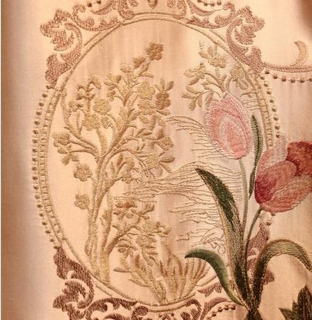 现代中式古典牡丹花绣花窗帘