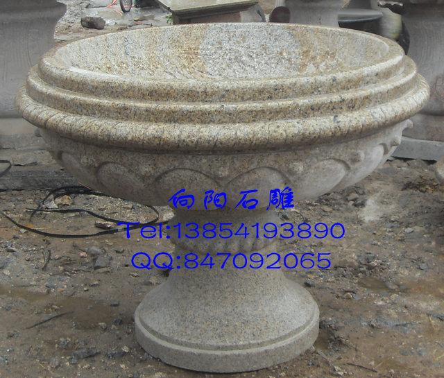 南京花盆石雕厂家|最新黄锈石喷泉定制报价