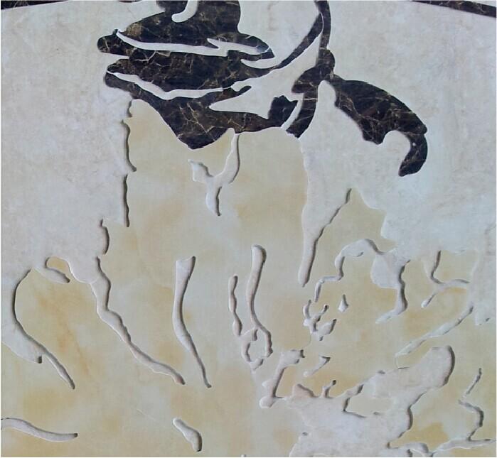 供应瓷砖石材水刀拼花 电视背景墙 富贵牡丹