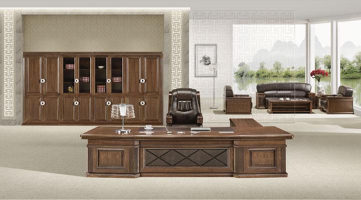 办公家具 融合实木胡桃原木色班台组合