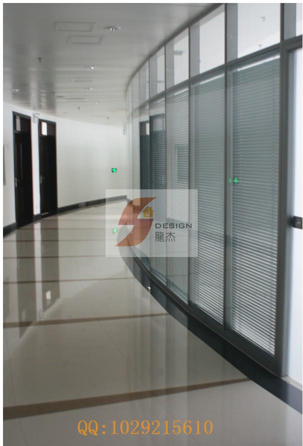 郑州玻璃隔断之造型中空百叶隔断-【效果图