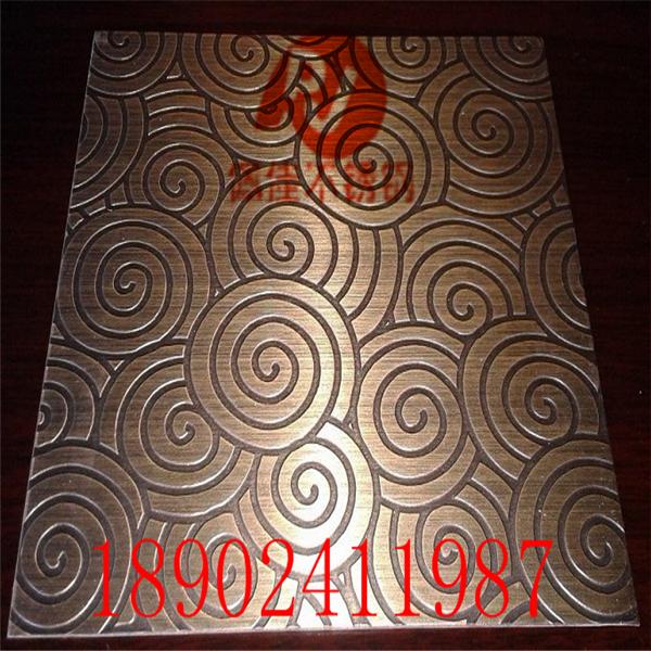 蚀刻花纹不锈钢板腐蚀拉丝玫瑰金电梯装饰板