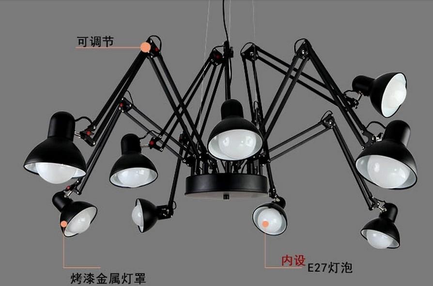 【现代9头蜘蛛吊灯饰 创意客厅卧室工作室吊灯】广东
