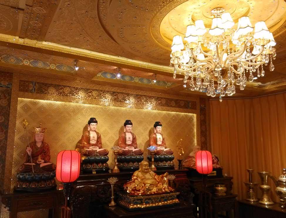 中式禅堂,大堂.家庭佛堂天花吊顶图片