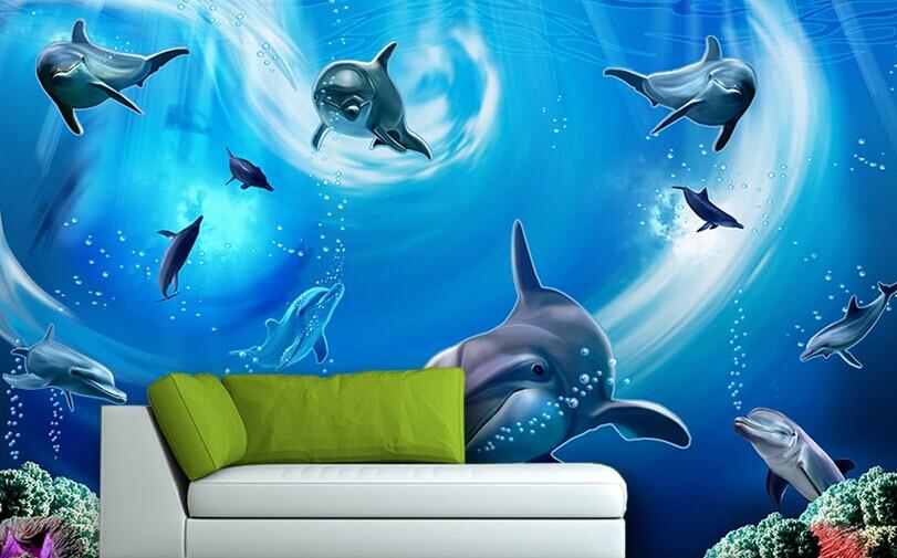 海底世界海豚清凉3d电视背景墙