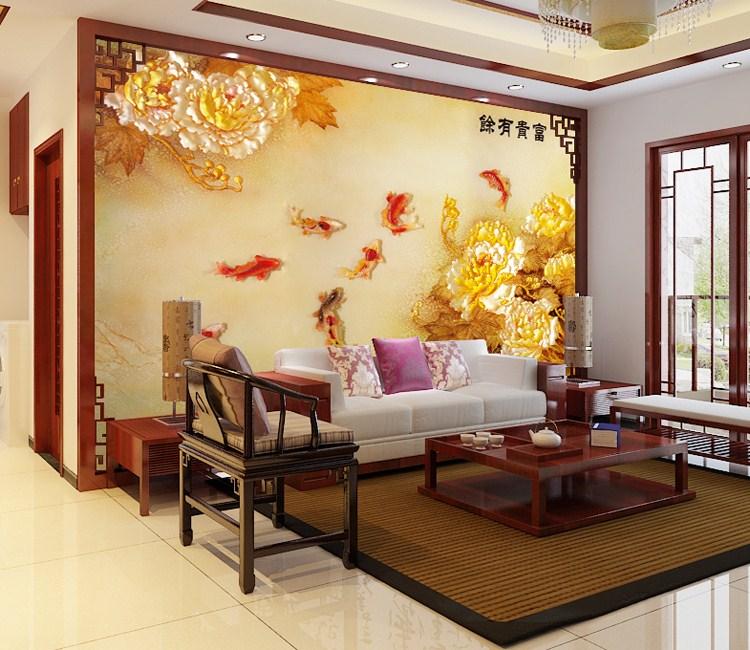 中式客厅餐厅沙发背景墙壁画墙纸墙布厂家