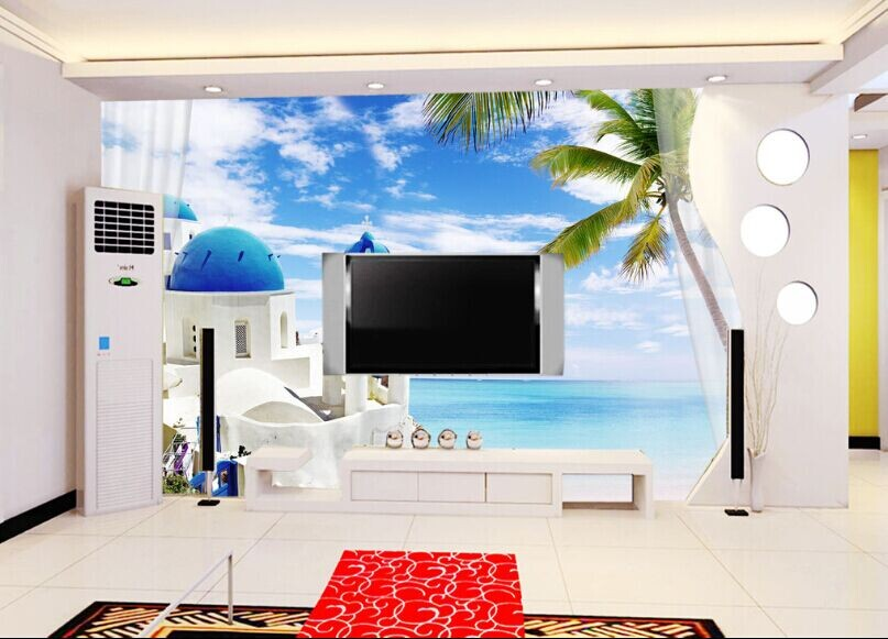 3d地中海风格壁纸卧室客厅电视背景墙壁画