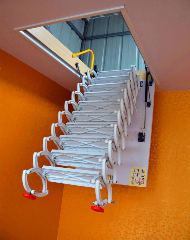 上海阁楼伸缩楼梯厂家 小阁楼伸缩楼梯价格 阁楼折叠伸缩楼梯