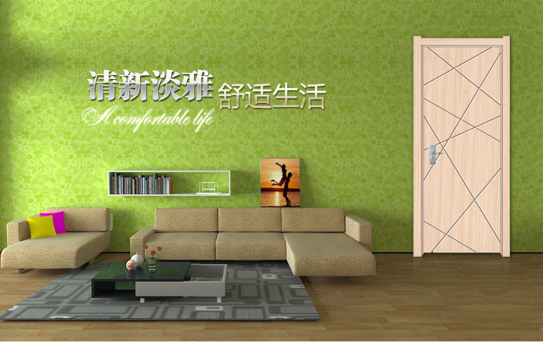 杭州舒迪木门 实木复合免漆门 套装门 室内门P-001