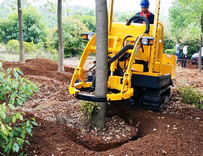 供应园林机械安徽三普带土球履带式挖树机