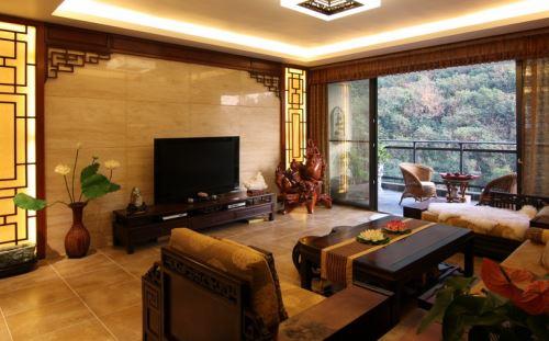 中式电视背景墙欣赏,中式客厅装修典例图片