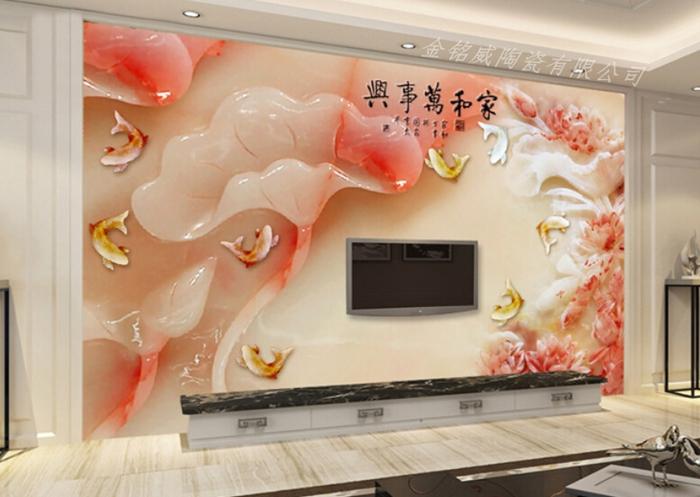 【3d仿玉瓷砖背景墙 沙发专用瓷砖背景墙】图片