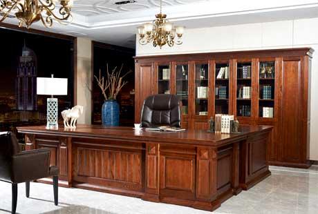 中式实木办公家具 明堂系列,全实木大班台