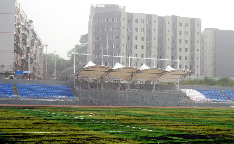 安徽体育场膜结构雨棚-pvc看台遮阳雨棚