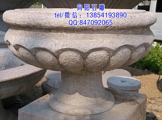 桐乡石雕花钵|黄锈石花盆|石雕花钵价格