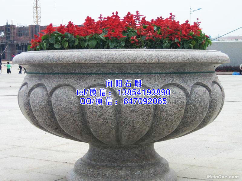 石雕花盆花钵、黄锈石花盆花钵、景观石花盆