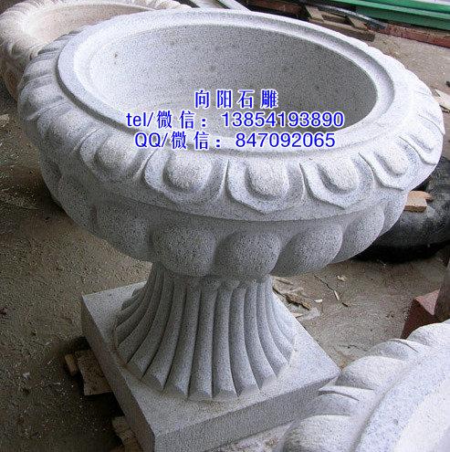 乳山石雕花盆|黄锈石花盆|石雕花钵价格