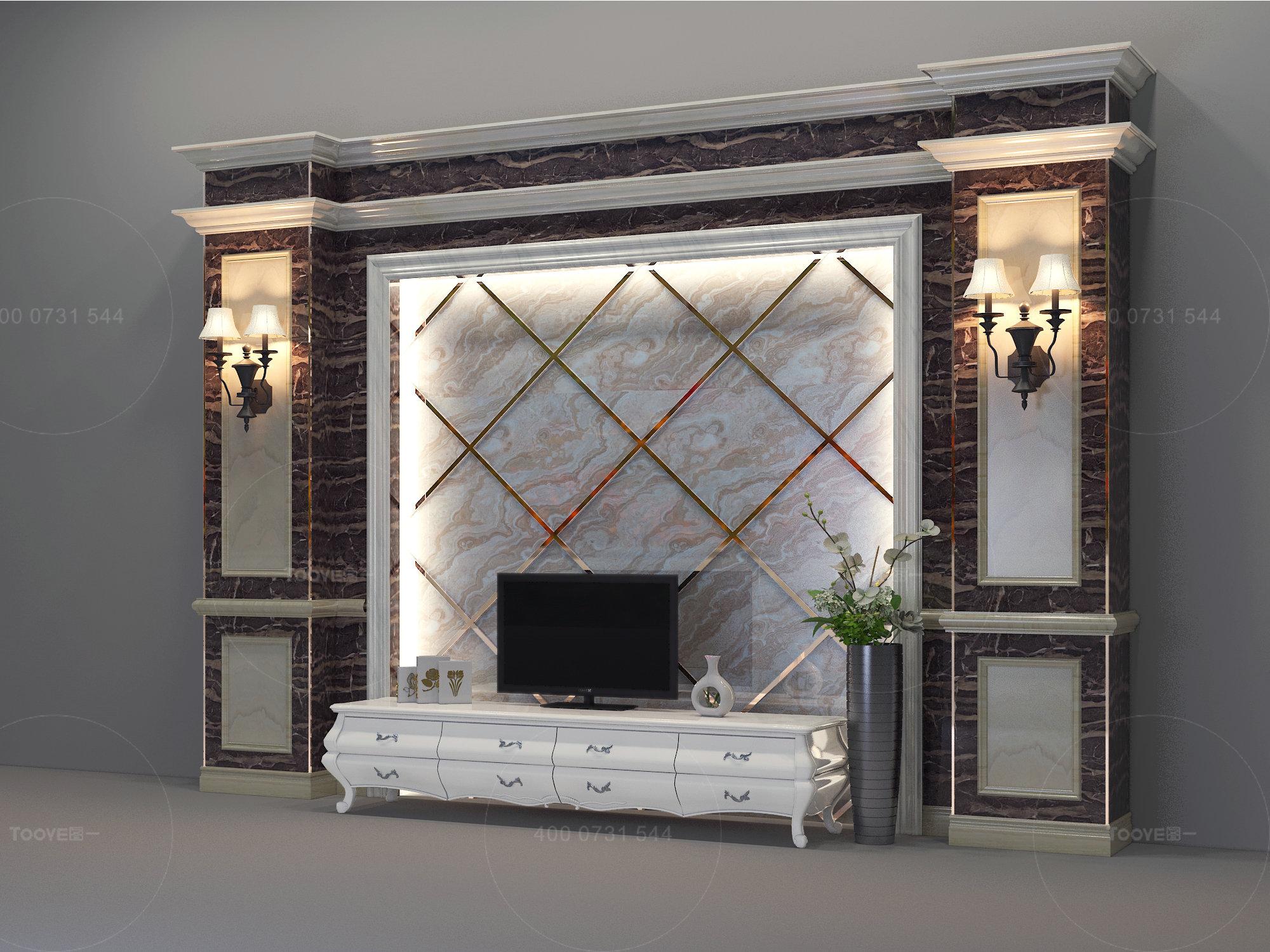 图一新型电视背景墙UV板仿大理石纳米微晶石