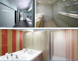 彩色玻璃在洗手间的应用