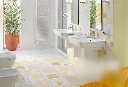 背后的风情 花色瓷砖铺贴卫浴台盆背景墙