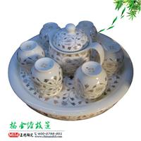 供应双龙戏珠陶瓷茶具
