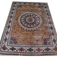 供应300道100%桑蚕丝纯手工编织波斯地毯,挂毯 004