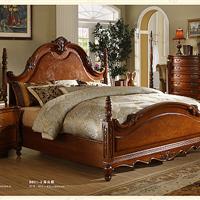 供应北京实木家具厂家 广东实木家具批发 美式床头柜 床前柜