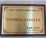 2010年新塘镇就业工作优秀企业