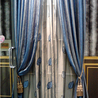 宝蓝色加灰色后现代古典竖拼接窗帘布