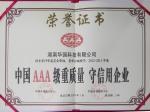 中国AAA级重质量 守信用企业证书