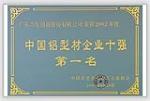 中国铝型材企业十强第一名