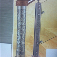 镀色铝雕刻护栏,铜板浮雕壁画,铝铜浮雕门柱