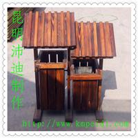 供应防腐木垃圾桶/碳化木垃圾桶/实木垃圾桶