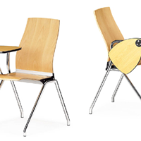 供应品牌带写字板木面培训椅