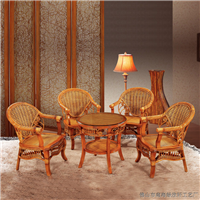绿欣轩阳台休闲桌椅组合 藤椅茶几五件套702