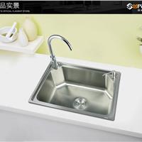 舒美特厨房洗菜盆单槽 304不锈钢拉丝水槽